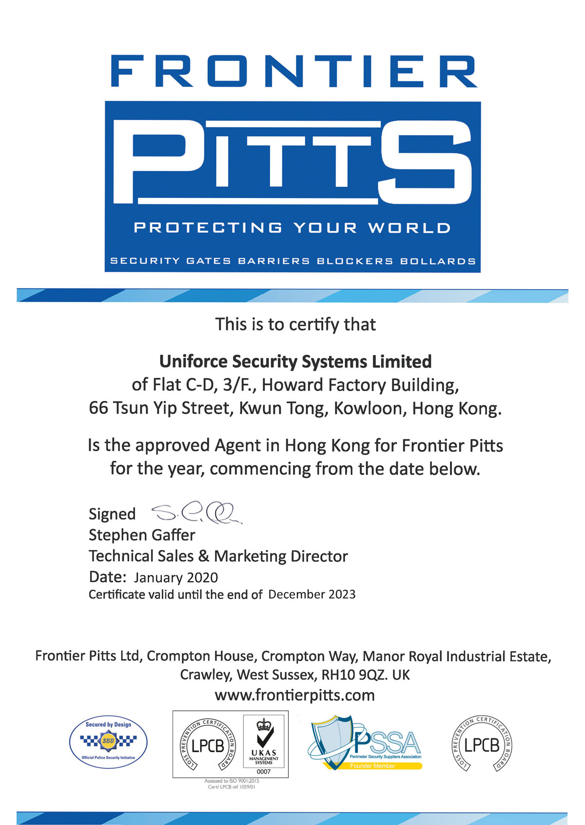 Frontier Pitts Certificate